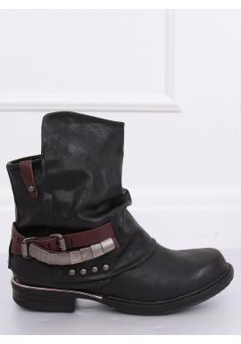 Dámske štýlové topánky s nariaseným zvrškom v čiernej farbe