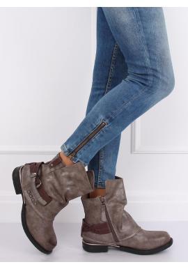 Štýlové dámske topánky sivej farby s nariaseným zvrškom