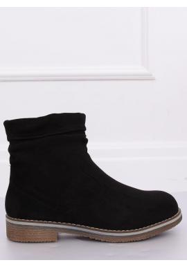Čierne semišové topánky s nariaseným zvrškom pre dámy