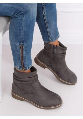 Dámske semišové topánky s nariaseným zvrškom v sivej farbe