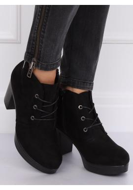Čierne semišové topánky na podpätku pre dámy