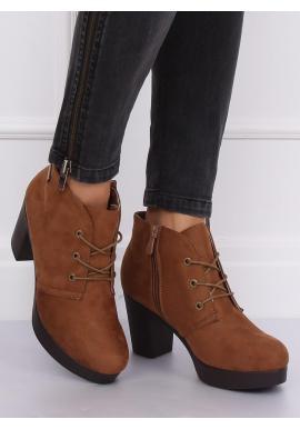 Dámske semišové topánky na podpätku v kaki farbe