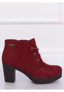 Semišové dámske topánky bordovej farby na podpätku