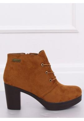Hnedé semišové topánky na podpätku pre dámy
