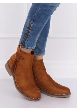 Hnedé semišové topánky so strapcami pre dámy