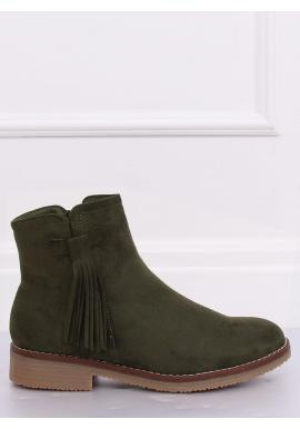 Dámske semišové topánky so strapcami v zelenej farbe