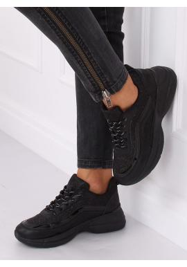 Dámske trblietavé tenisky na vysokej podrážke v čiernej farbe
