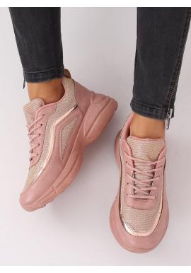 Ružové trblietavé tenisky na vysokej podrážke pre dámy
