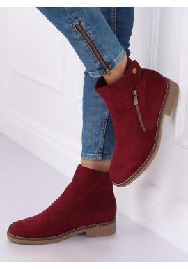 Bordové semišové topánky pre dámy