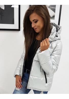 Dámska prešívaná bunda na zimu v striebornej farbe