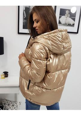 Zlatá prešívaná bunda na zimu pre dámy