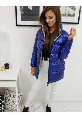Dámska metalická bunda na zimu v modrej farbe