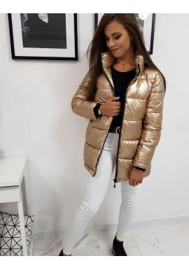 Zlatá metalická bunda na zimu pre dámy