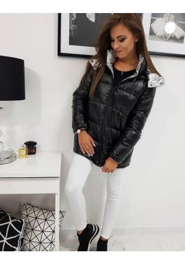 Metalická dámska bunda čiernej farby na zimu