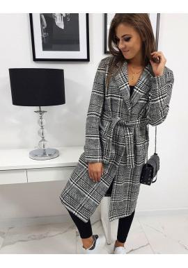 Dámsky károvaný kabát s opaskom v čierno-bielej farbe