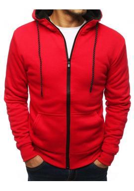 Športová pánska mikina červenej farby s kapucňou