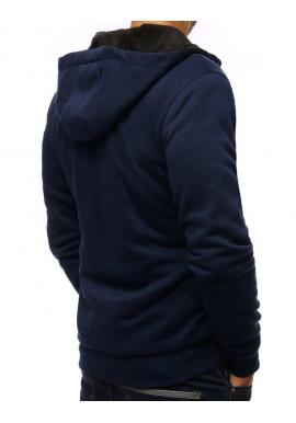 Športová pánska mikina tmavomodrej farby s kapucňou