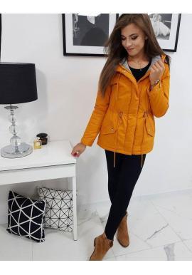 Zimná dámska Parka žltej farby s kapucňou