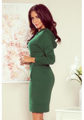 Zelené bavlnené šaty s kapucňou pre dámy