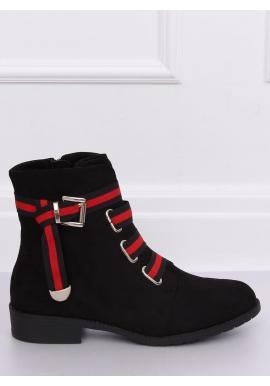 Čierne semišové topánky s kontrastným pásom pre dámy