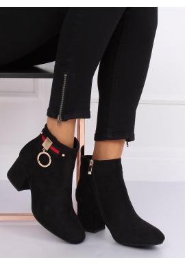 Dámske semišové topánky na nízkom opätku v čiernej farbe