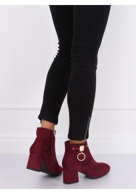 Semišové dámske topánky bordovej farby na nízkom opätku
