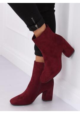 Bordové semišové čižmy na podpätku pre dámy