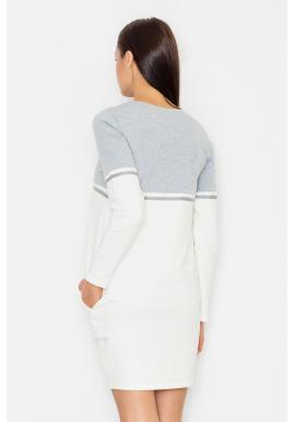 Športové dámske šaty v bielo-sivej farbe s dlhým rukávom
