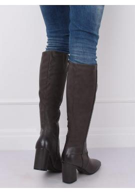 Klasické dámske čižmy sivej farby na podpätku