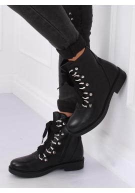 Štýlové dámske Workery čiernej farby so širokými šnúrkami
