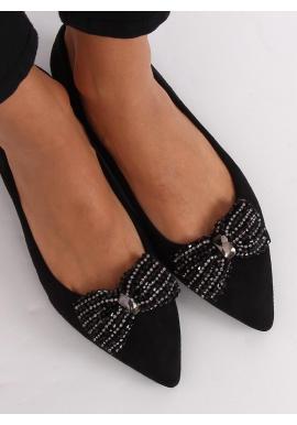 Čierne elegantné balerínky s pôsobivou mašľou pre dámy