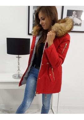 Dámska obojstranná bunda na zimu v červenej farbe