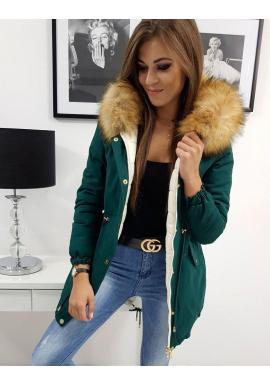 Zelená obojstranná bunda na zimu pre dámy