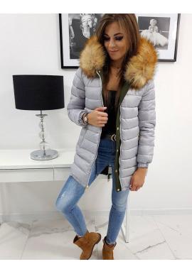 Obojstranná dámska bunda olivovej farby na zimu