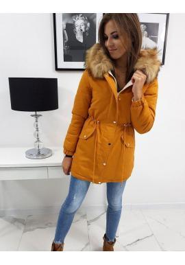 Dámska obojstranná bunda na zimu v ťavej farbe