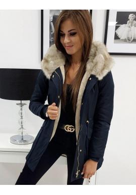 Tmavomodrá zimná Parka s kapucňou pre dámy