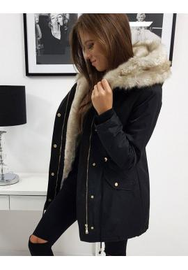 Zimné dámske Parky čiernej farby s kapucňou