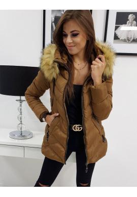 Prešívaná dámska bunda hnedej farby na zimu