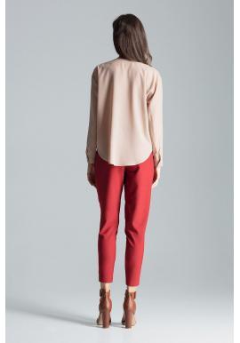 Béžová módna košeľa s dlhým rukávom pre dámy