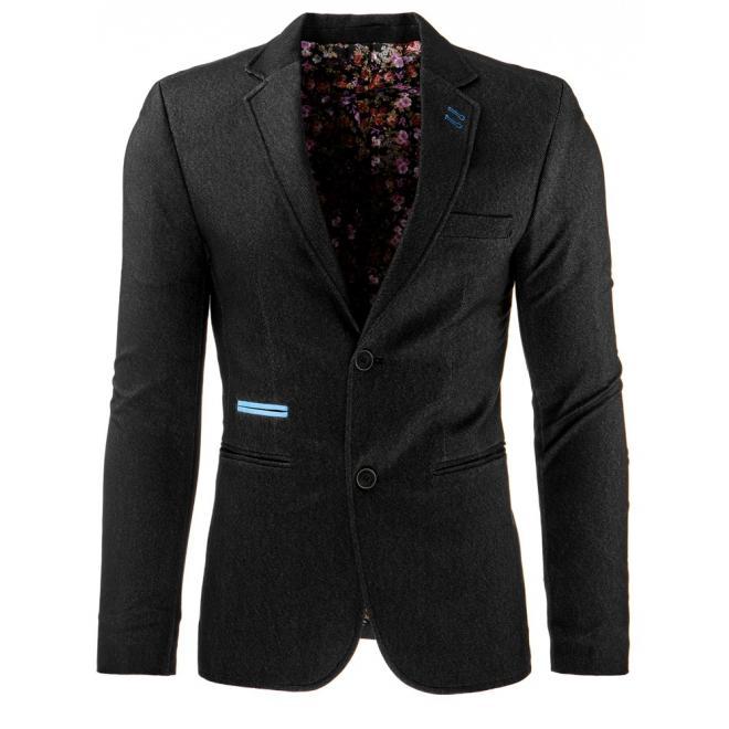Sako pre pánov v tmavomodrej farbe s hnedými doplnkami
