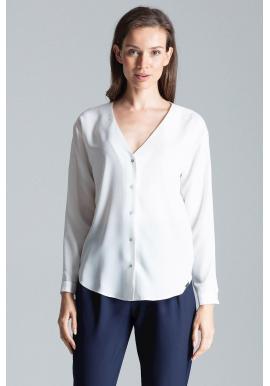 Módna dámska košeľa bielej farby s dlhým rukávom