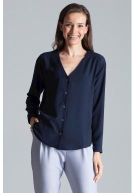 Dámska módna košeľa s dlhým rukávom v tmavomodrej farbe