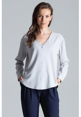 Sivá módna košeľa s dlhým rukávom pre dámy