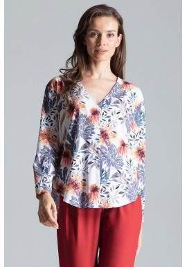 Módna dámska košeľa bielej farby so vzorom