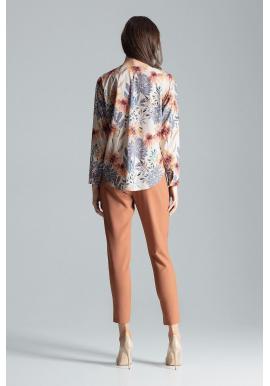 Dámska módna košeľa so vzorom v béžovej farbe