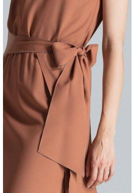 Hnedé elegantné šaty s viazaním v páse pre dámy