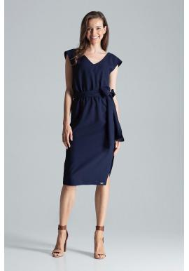 Dámske elegantné šaty s viazaním v páse v tmavomodrej farbe