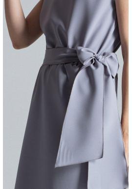 Elegantné dámske šaty sivej farby s viazaním v páse