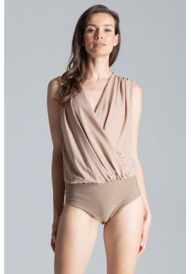 Elegantné dámske body béžovej farby s obálkovým výstrihom