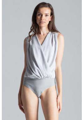 Elegantné dámske body sivej farby s obálkovým výstrihom